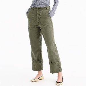 J. Crew Foundry High Rise Button Fly Pants Olive